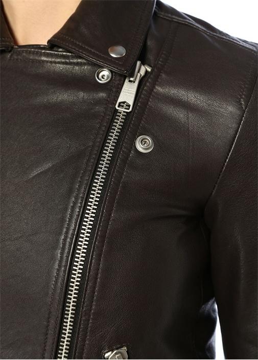 Dalby Kahverengi Biker Deri Ceket