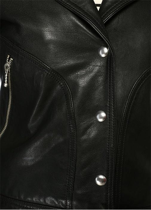 Zola Siyah Kelebek Yaka Biker Deri Ceket