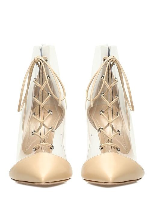 Bej Transparan Detaylı Deri Topuklu Ayakkabı