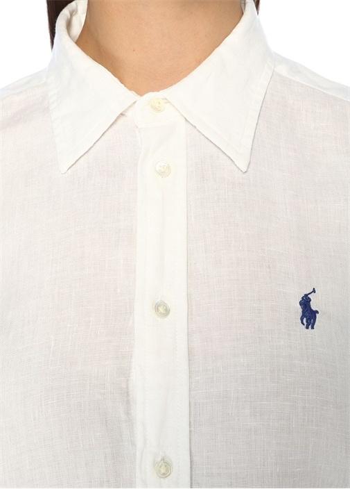 Relaxed Fit Beyaz Keten Gömlek