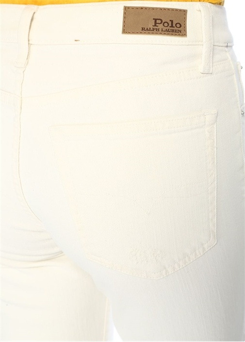 Chrystie Beyaz Kick Flare Crop Jean Pantolon
