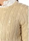 Slim Fit Pima Cotton Krem Saç Örgü Kazak