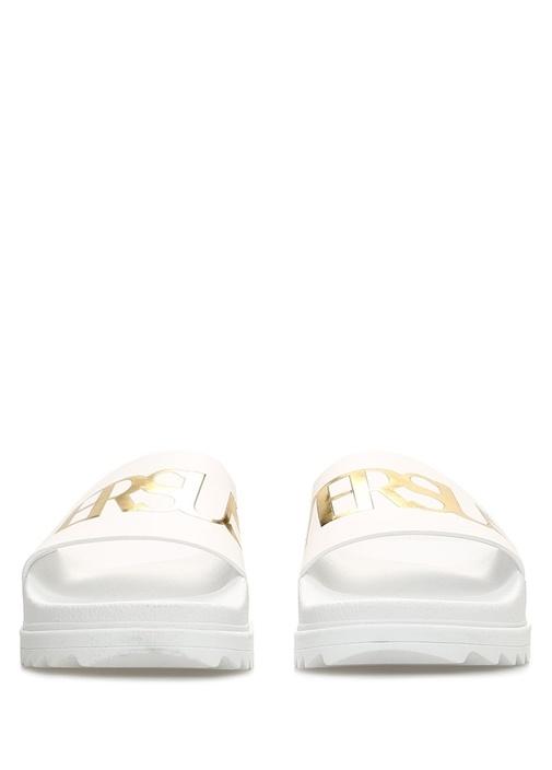Beyaz Gold Logolu Erkek Terlik