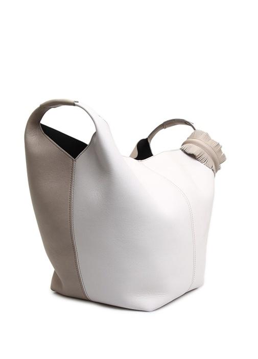 Vanity Bej Beyaz Kadın Deri Alışveriş Çantası