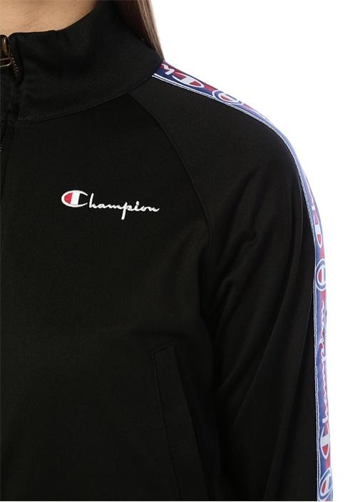 Siyah Logo Şerit Detaylı Sweatshirt