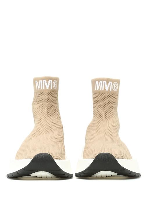 Bej Dokulu Logo Jakarlı Çorap Formlu Kadın Sneaker