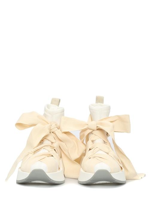 Ekru Beyaz Bağcık Detaylı Kadın Sneaker