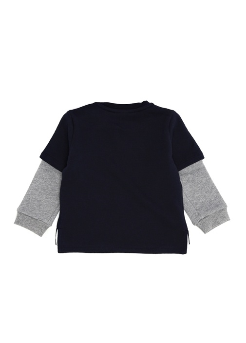 Lacivert Garni Detaylı Erkek Bebek Sweatshirt