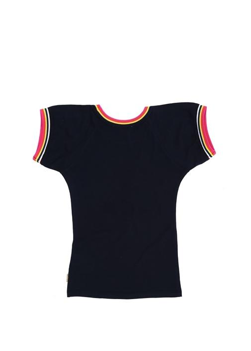 Lacivert Figür Baskılı Kız Çocuk Elbise