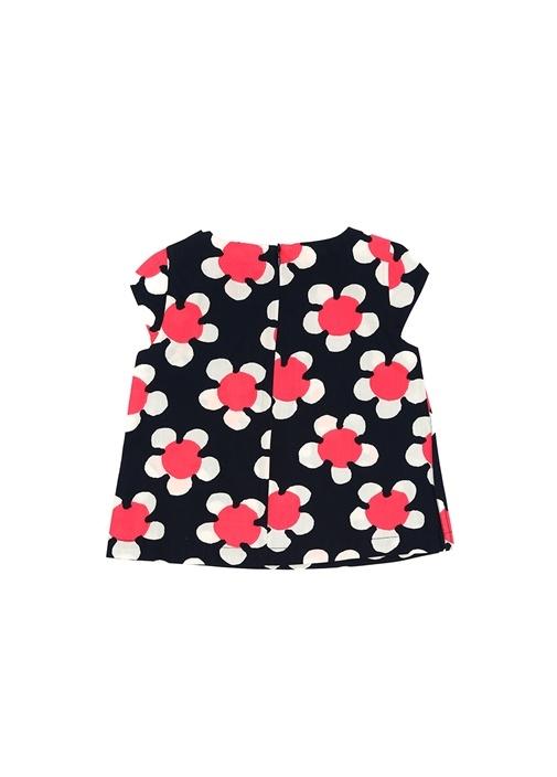 Lacivert Çiçek Desenli Kız Çocuk Bluz
