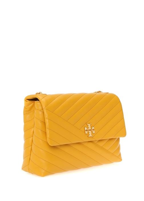 Kira Chevron Sarı Logolu Kadın Deri Omuz Çantası