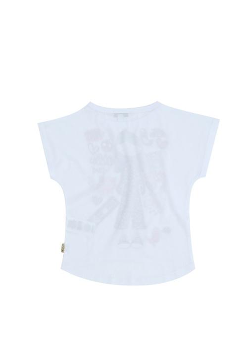 Beyaz Karışık Baskılı Kız Çocuk T-shirt