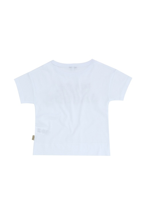 Beyaz Taşlı Logo İşlemeli Kız Çocuk T-shirt