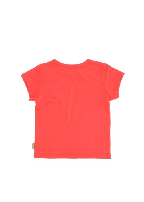 Fuşya Kabartmalı Çiçek Baskılı Kız Çocuk T-shirt