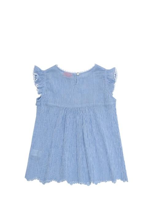 Mavi Çizgili İşlemeli Kız Çocuk Plaj Elbisesi