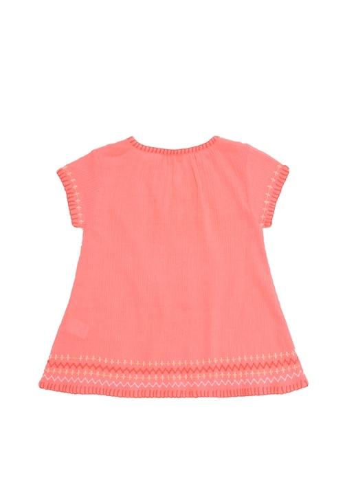Neon Pembe Yakası Bağcıklı Kız Çocuk Plaj Elbisesi