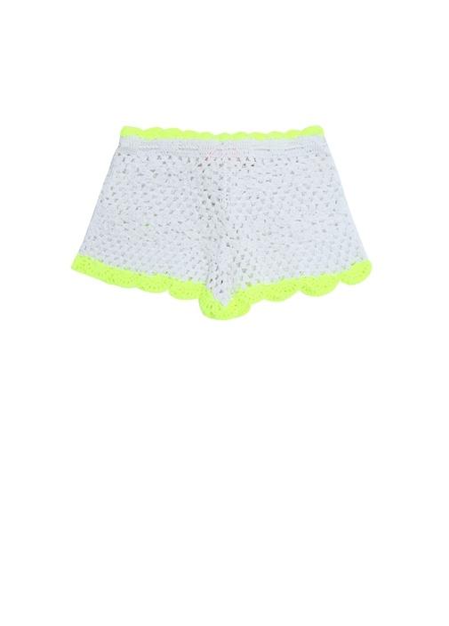 Beyaz Neon Sarı Örgü Dokulu Kız Çocuk Şort