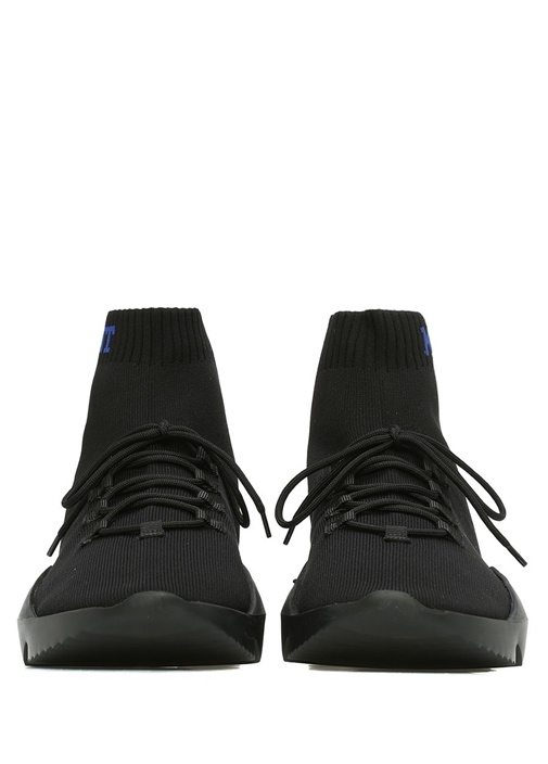Siyah Çorap Formlu Logolu Ribli Erkek Sneaker