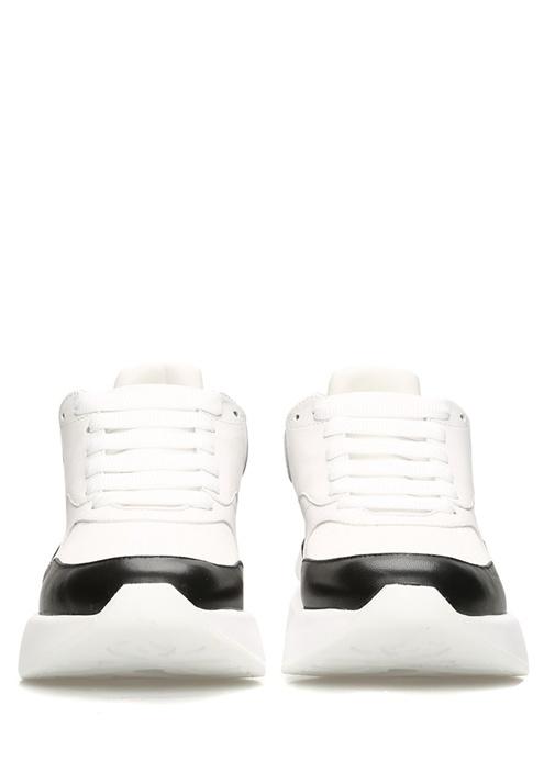 Oversized Beyaz Siyah Kadın Deri Sneaker