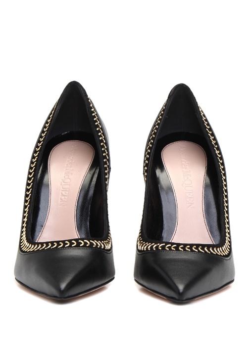 Studded Pin Siyah Kadın Deri Stiletto