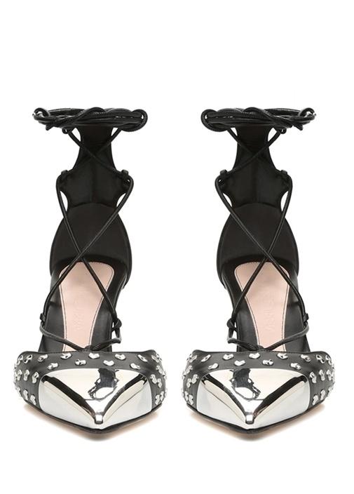 Siyah Silver Trok Detaylı Topuklu Deri Sandalet