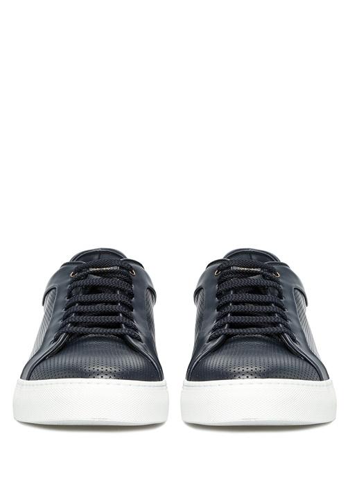 Lacivert Logolu Erkek Deri Sneaker