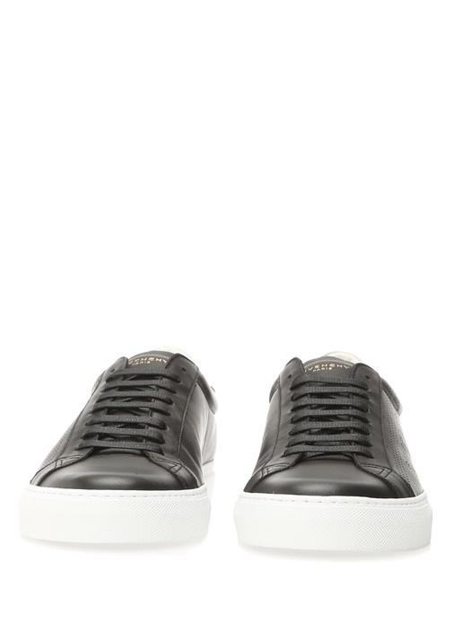 Siyah Delik Desenli Logolu Erkek Deri Sneaker