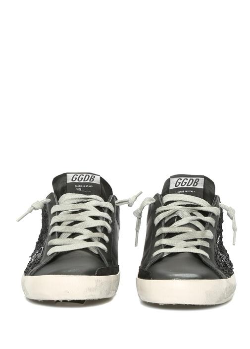 Superstar Siyah Pulpayetli Kadın Deri Sneaker