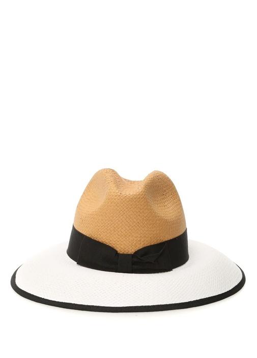 Beyaz Bej Hasır Görünümlü Kadın Şapka