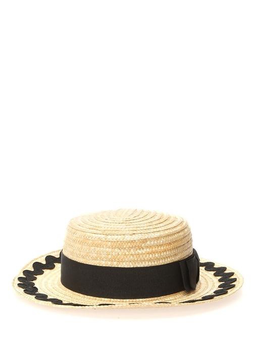 Bej Siyah Kadın Hasır Şapka