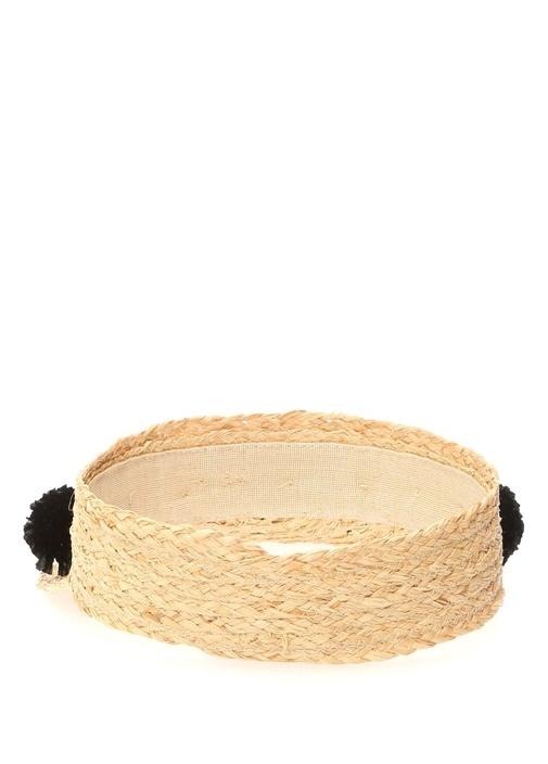 Bej Siyah Ponpon Detaylı Kadın Şapka