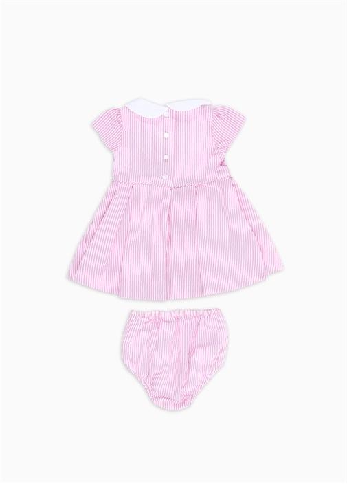 Pembe Çizgili Kız Bebek Elbise