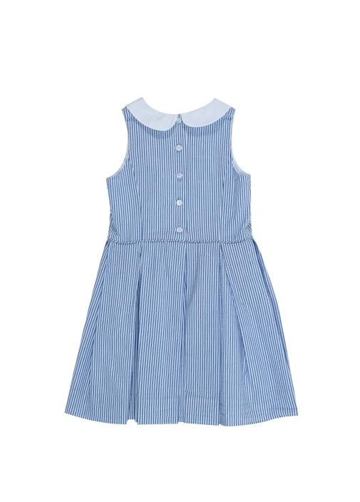 Mavi Beyaz Çizgili Kız Çocuk Elbise
