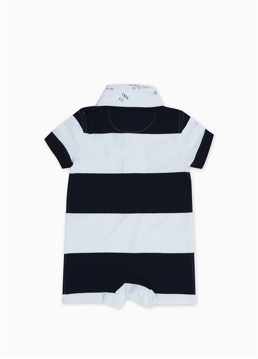 Lacivert Beyaz Patchli Erkek Bebek Tulum