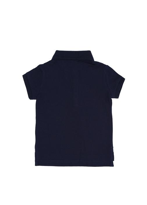 Lacivert Polo Yaka Pike Dokulu Kız Çocuk T-shirt