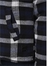 Lacivert Ekose Desenli Shearling Detaylı Ceket
