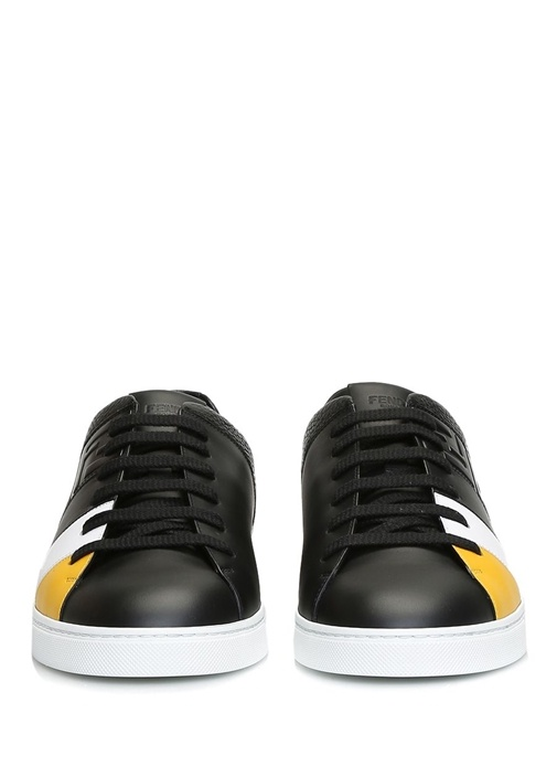 Siyah Logo Kabartmalı Erkek Deri Sneaker