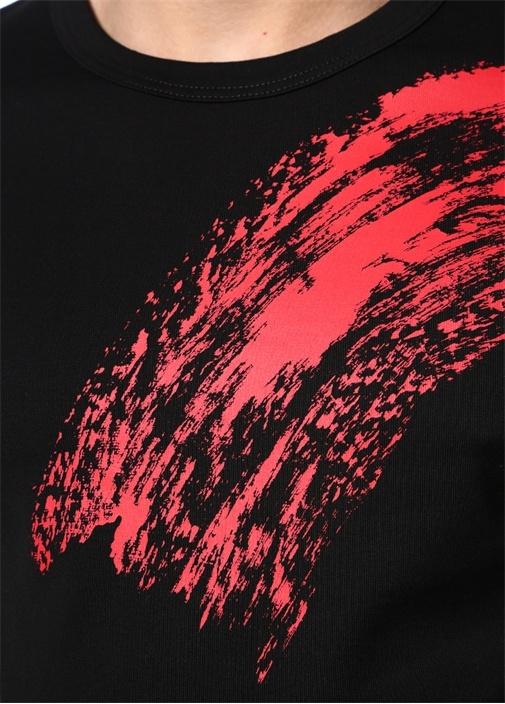 Siyah Kırmızı Baskılı T-shirt
