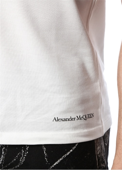 Beyaz Siyah Baskılı T-shirt