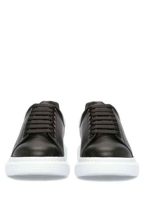 Oversize Siyah Beyaz Logolu Erkek Deri Sneaker