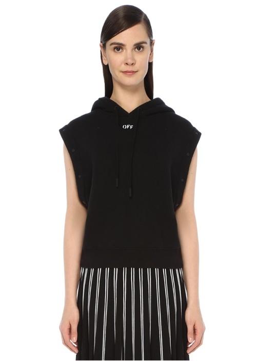 Siyah Kapüşonlu Kolu Baskılı Çıtçıtlı Sweatshirt