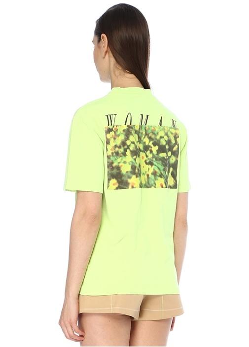 Neon Yeşil Bisiklet Yaka Baskılı T-shirt