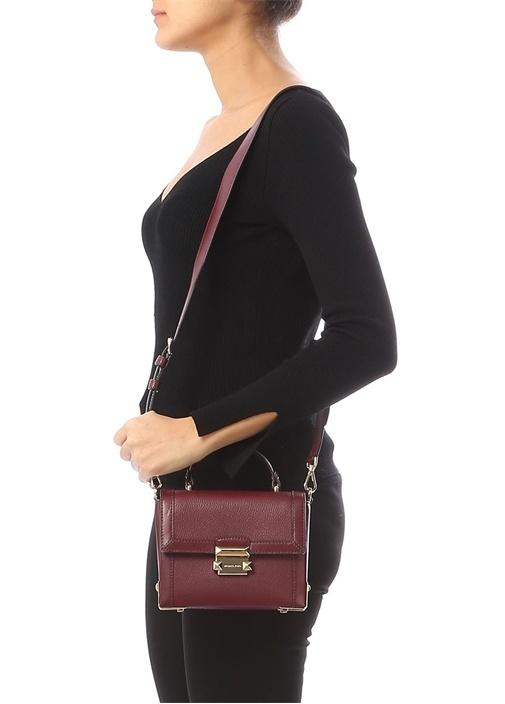 Jayne Bordo Logolu Kadın Deri Çanta