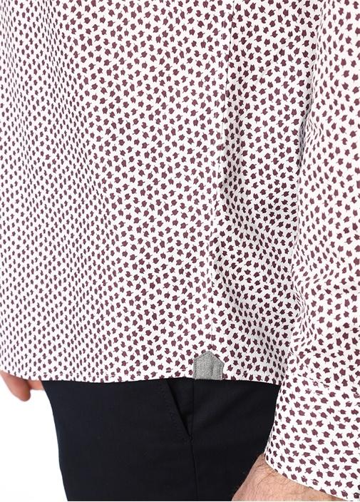 Bordo Beyaz Düğmeli Yaka Mikro Desenli Gömlek