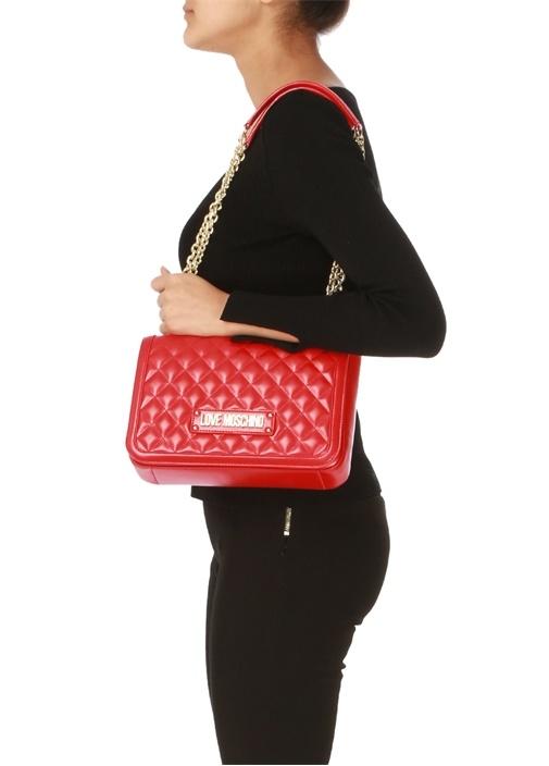 Kırmızı Gold Logolu Kadın Omuz Çantası
