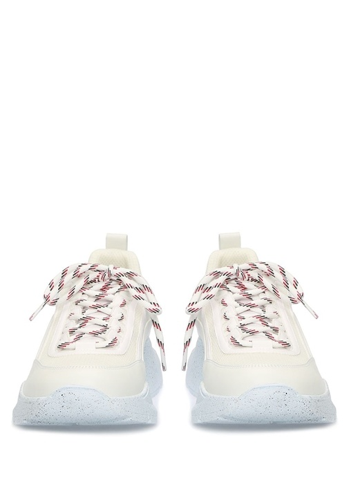 Beyaz File Doku Detaylı Erkek Deri Sneaker