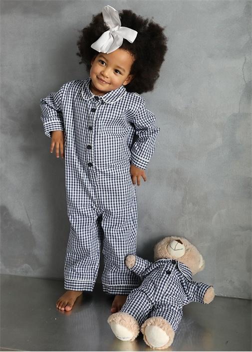 Unisex Çocuk Uyku Arkadaşlı Pijama Tulum Seti