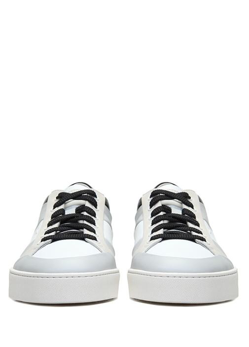 Beyaz Colorblocked Erkek Deri Sneaker