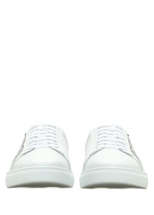Beyaz Logo Baskılı Erkek Deri Sneaker