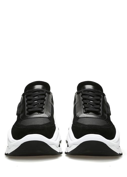 Siyah Beyaz Garni Detaylı Erkek Sneaker